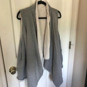 Reversible fuzzy faux fur vest